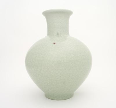 Long necked fish crackle glaze vase