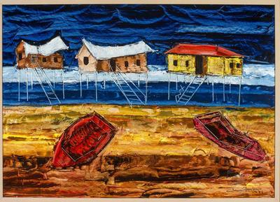 not titled [row boat and three Queenslander houses]