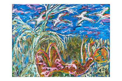 Figure lying under gumtree watching birds